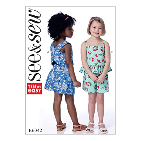 Butterick Patterns 6342 A Children\'s/Girls Top and Shorts Sewing ...