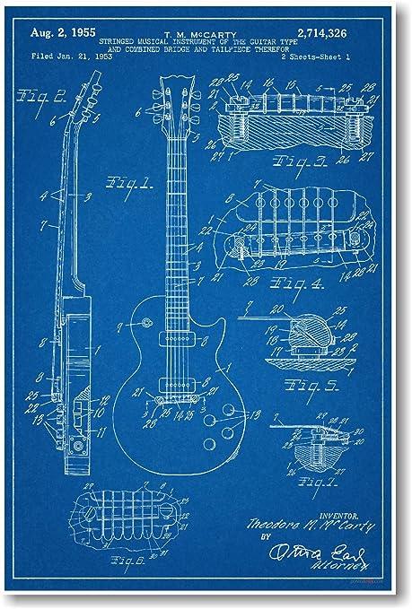 Gibson Les Paul Guitarra Patent – New famoso invención Blueprint Póster