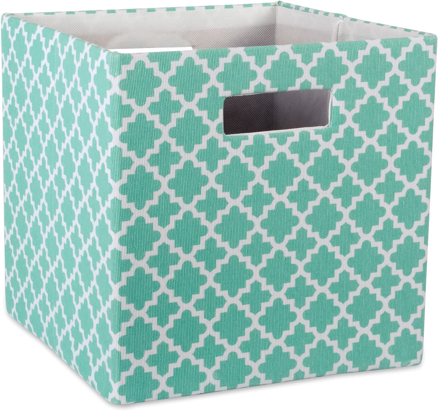 "DII Hard Sided Collapsible Fabric Storage Container for Nursery, Offices, & Home Organization, (13x13x13"") - Lattice Aqua"