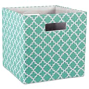DII Hard Sided Collapsible Fabric Storage Container for Nursery, Offices, & Home Organization, (11x11x11 ) - Lattice Aqua