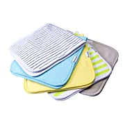 BABY BURP CLOTH - 5 PACK | 100% ORGANIC COTTON SUPER ABSORBENT TRIPLE LAYER MULTIPURPOSE LARGE UNISEX