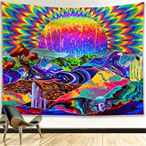 Funeon Trippy Tapestry Psychedelic Large Colorful Sun Mountain Mushroom Tapestry Wall Hanging Bedroom Decor, Blacklight Neon Cool Hippy Tapestries Aesthetic for Men Women Teen Girl College Dorm Room 70x90 inches