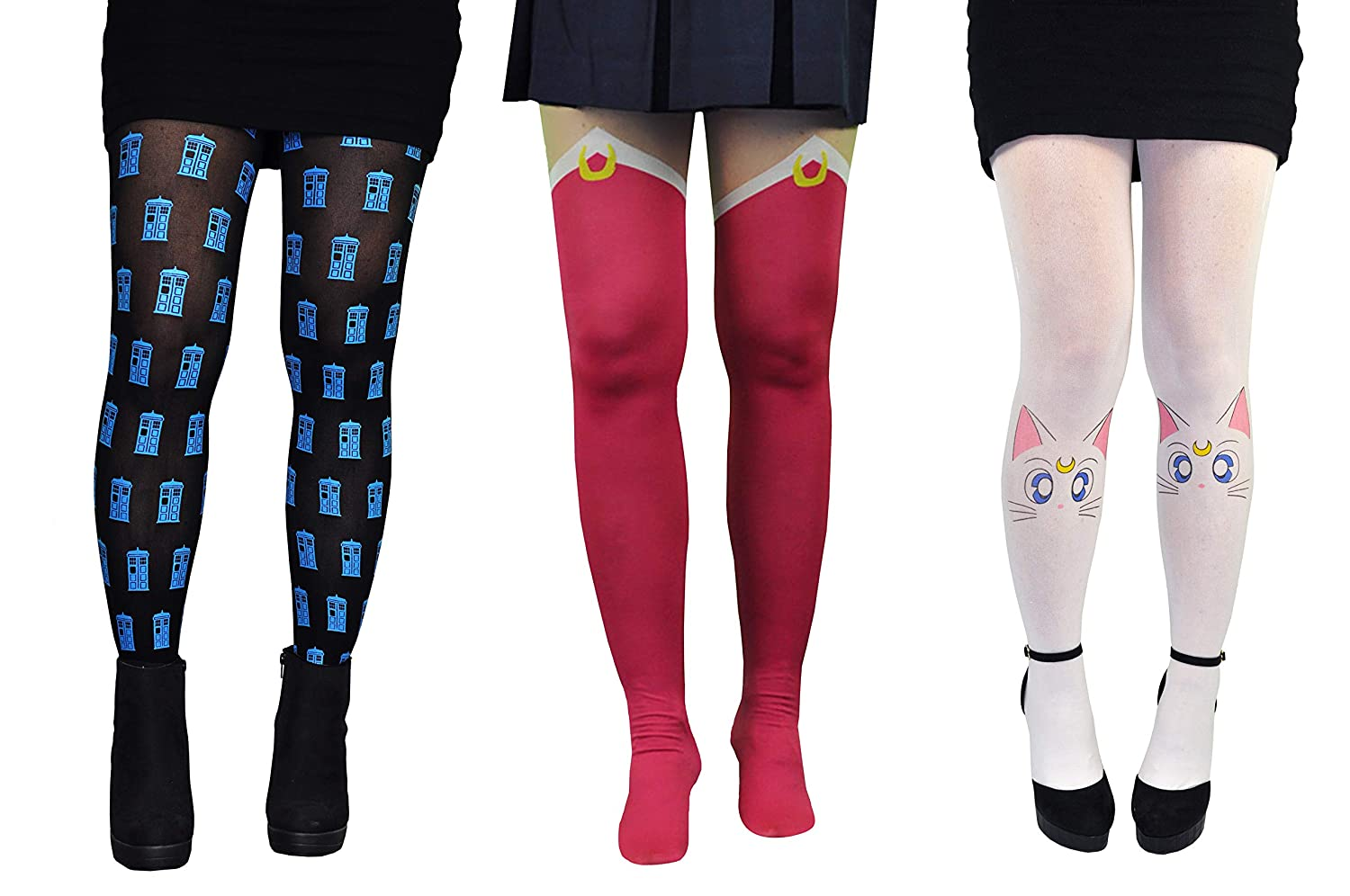 dd7b328e29cca Sailor Moon & Doctor Who Tights (3 Pair) - Artemis Tardis Leggings Women  Ladies Socks at Amazon Women's Clothing store: