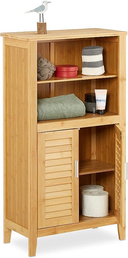 Relaxdays Lamell Armario de baño de bambú, 92 x 50 x 25 cm, con 2 asas y puertas, armario de baño o armario auxiliar con estantes de madera, color ...