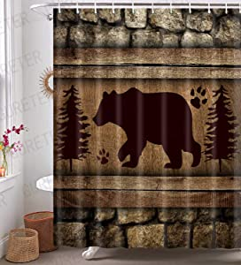 Black Bear Shower Curtain Woodland Wild Animal Bathroom Decor Rustic Farmhouse 72x72 Inch Water-Proof Polyester Bath Curtain 12 Plastic Hooks Included YLLSGE520