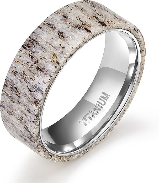 Tigrade 8mm Titanium Ring Deer Antler Band Men S Wedding Band Size