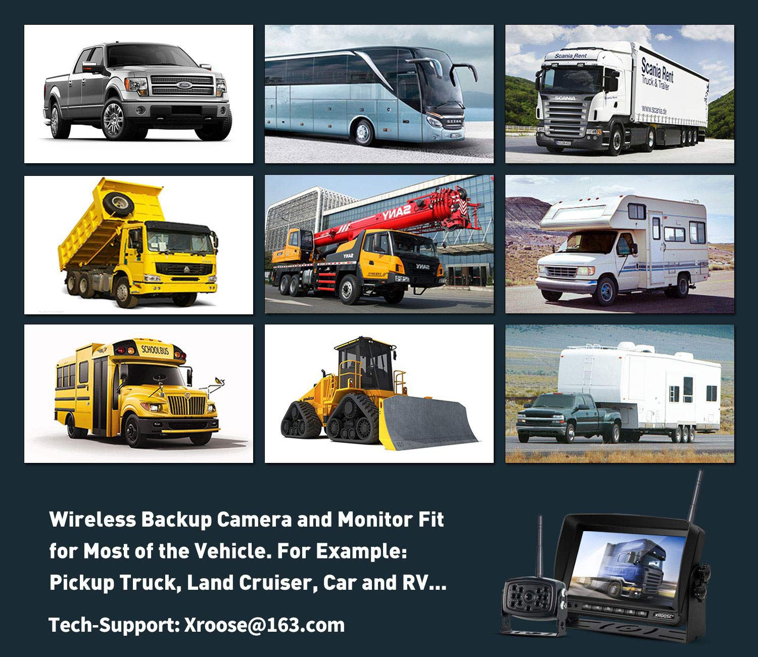 Wireless Backup Camera with Monitor System Split Screen for RV Rearview Reversing Back Camera No Interface IP69 Waterproof + Big 7'' Wireless Monitor for Truck Trailer Heavy Box Truck Motorhome ... by Xroose (Image #5)