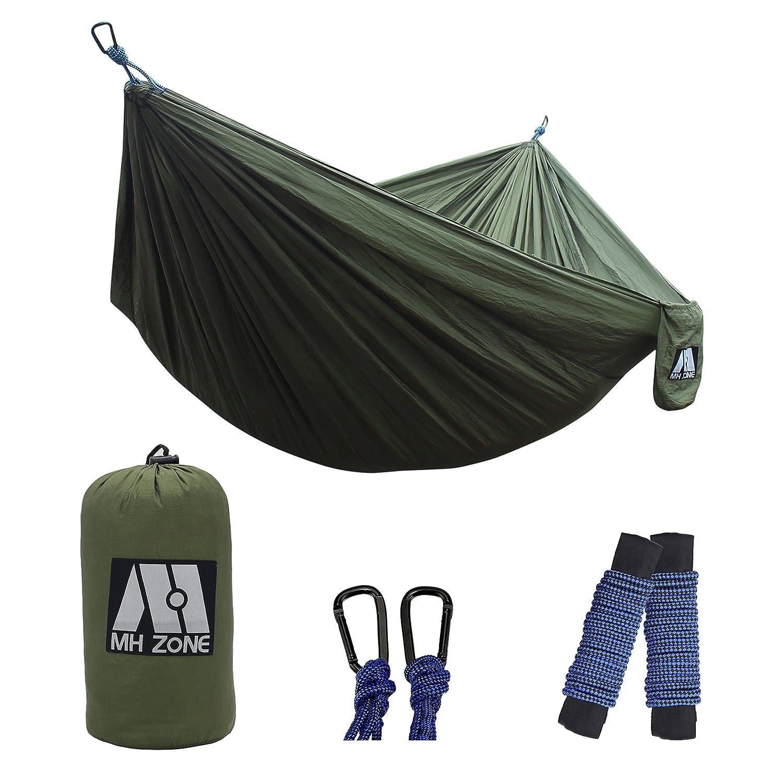MHゾーンキャンプハンモックバックパッキング、Best軽量ダブルポータブルナイロンパラシュートハンモックのハンモックツリーストラップfor旅行、ビーチやキャンプ、完璧な父の日ギフト。118