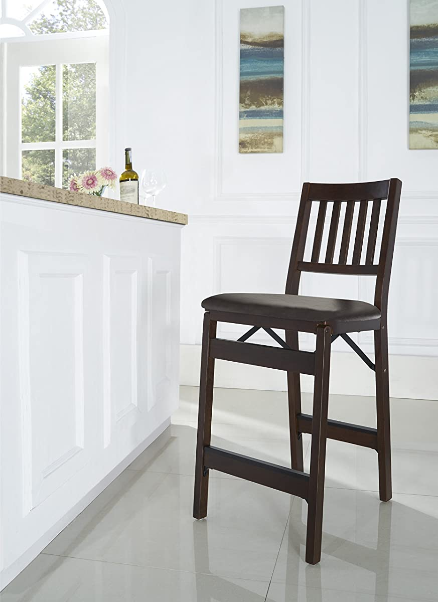 Stakmore Folding Counter Height Stools, Espresso with Bonded LeatherSet of 2