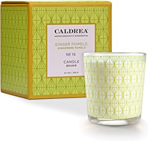 Caldrea Scented Candle, Made with Essential Oils, 45 Hour Burn Time, Ginger Pomelo Scent, 8.1 oz
