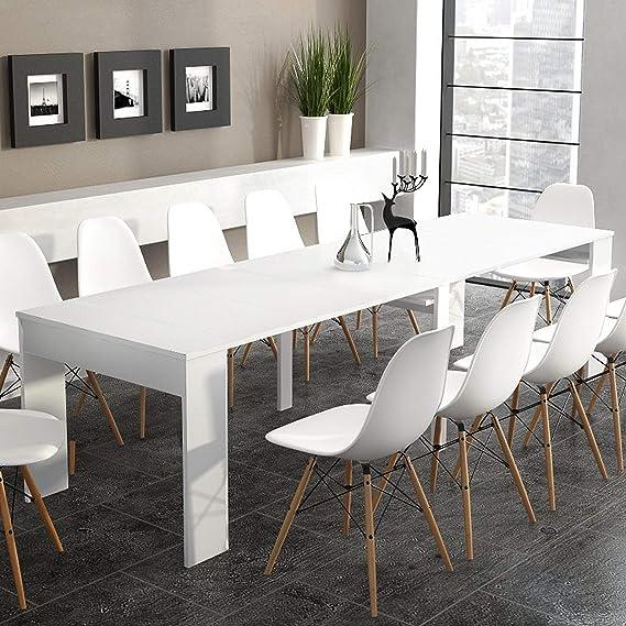 SelectionHome - Mesa de Comedor Consola Extensible hasta 301 cm, Acabado Blanco Brillo, Medidas Cerrada: 90x49x75 cm de Alto