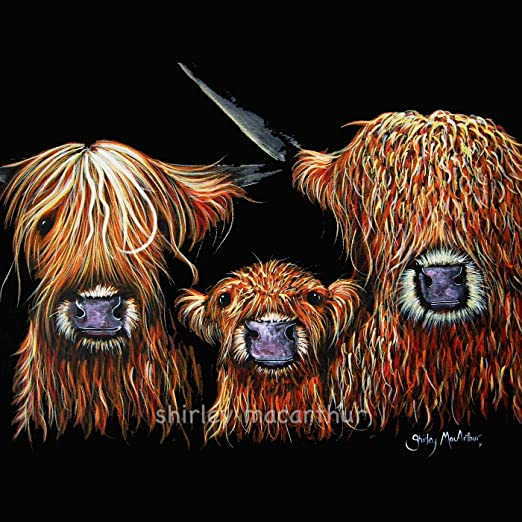 HIGHLAND COW PRINTS of Original SCOTTISH Painting /'THE KID/' by SHIRLEY MACARTHUR