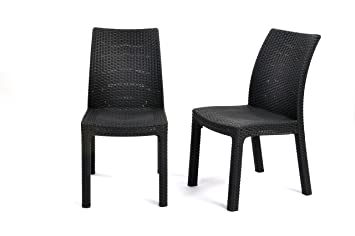 Merveilleux Keter Milan 2 Pc Modern All Weather Patio Garden Outdoor Furniture Dining  Chairs, Grey