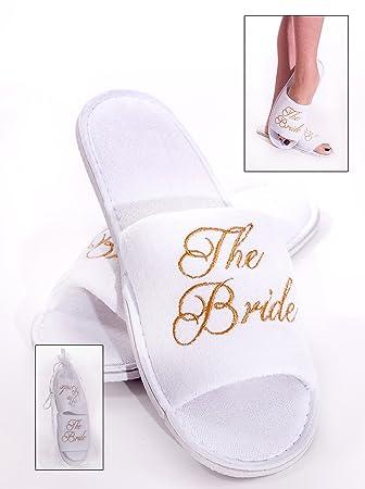Alandra Gifts SLIP-BTB - Zapatillas de spa para novia, unisex, color blanco