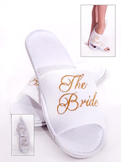 Alandra Gifts SLIP-BTB - Zapatillas de spa para novia, unisex, color blanco