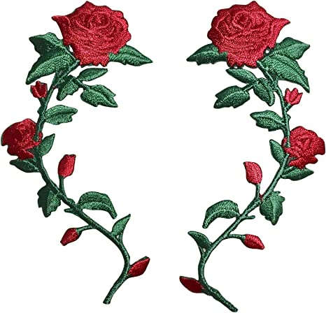 """3-1//8/"""" Single Red Rose Green Leaves Iron On Embroidered Patch"""