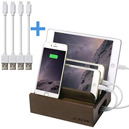 JZBRAIN Wood Charging Station For Mutiple Devices IPhone Samsung Galaxy  IPad And Other Phones And Tablets