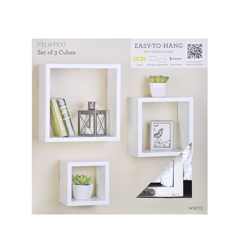 Amazon.com: Melannco Square Wood Shelves Set, White, Set of 3 ...