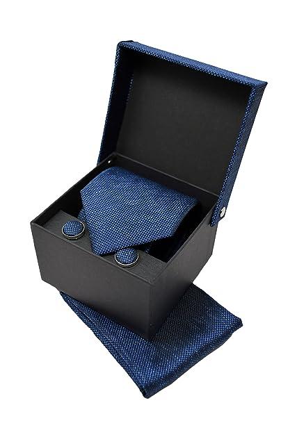 Corbata de hombre, Pañuelo de Bolsillo y Gemelos Azul Oscuro ...