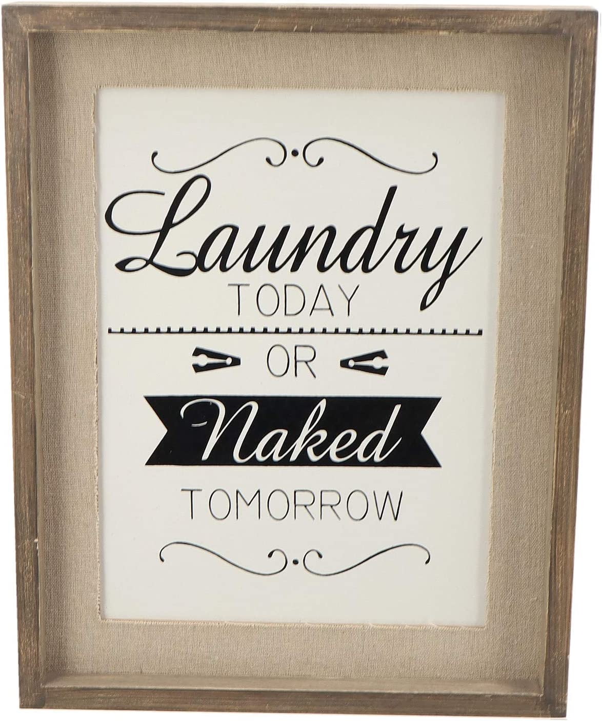 Parisloft Laundry Room Signs Laundry Today or Naked Tomorry Sign Plaque Laundry Wall Hanging Decor 10.8''x1''x13.8''
