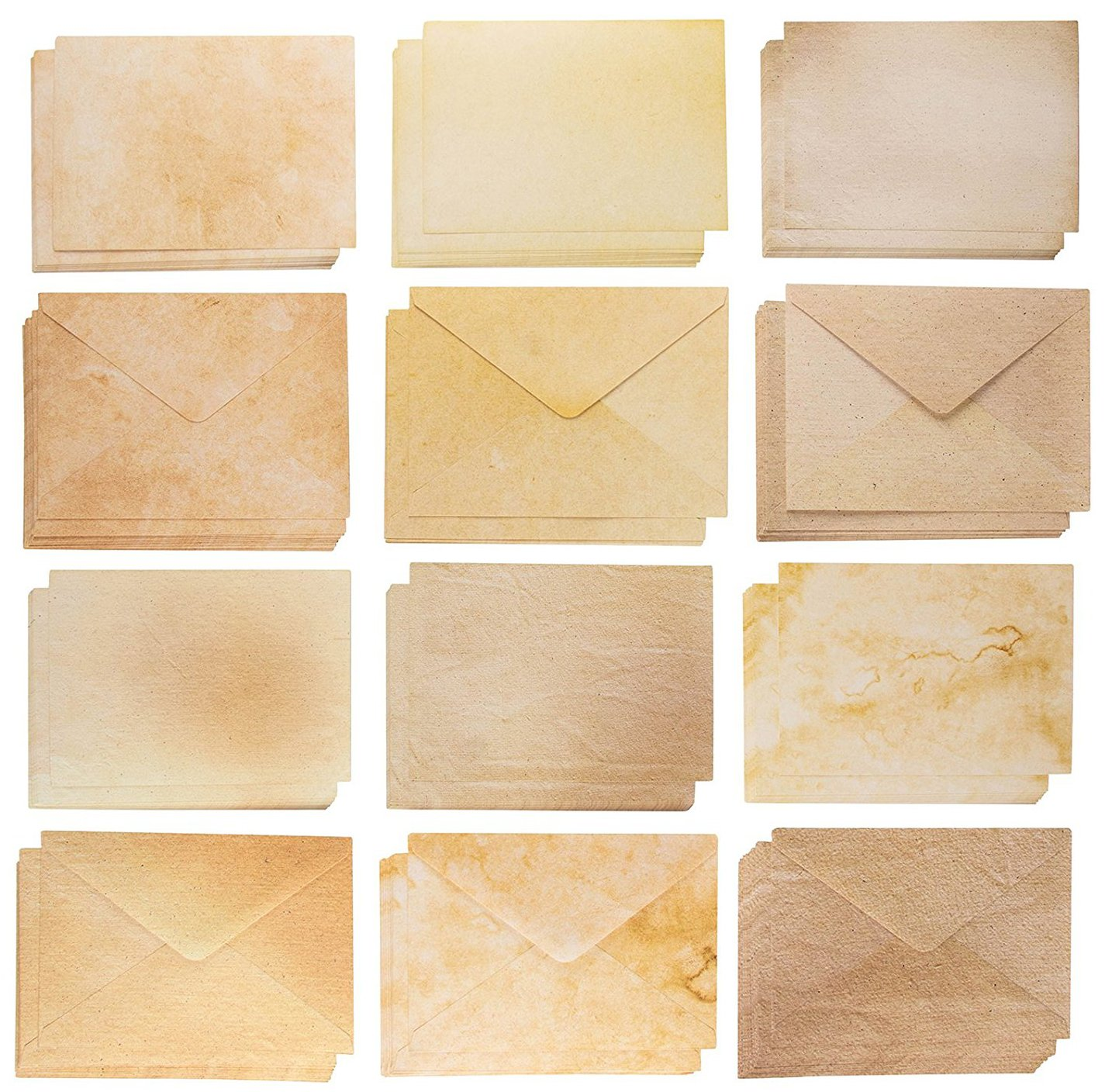 Blank Cards and Envelopes - 60 A7 Envelopes and 60 Blank Cardstock for Printing Invitation Cards, Postcards, Greeting Cards, Aged Style Vintage Designs, 5 x 7 Inches by Best Paper Greetings
