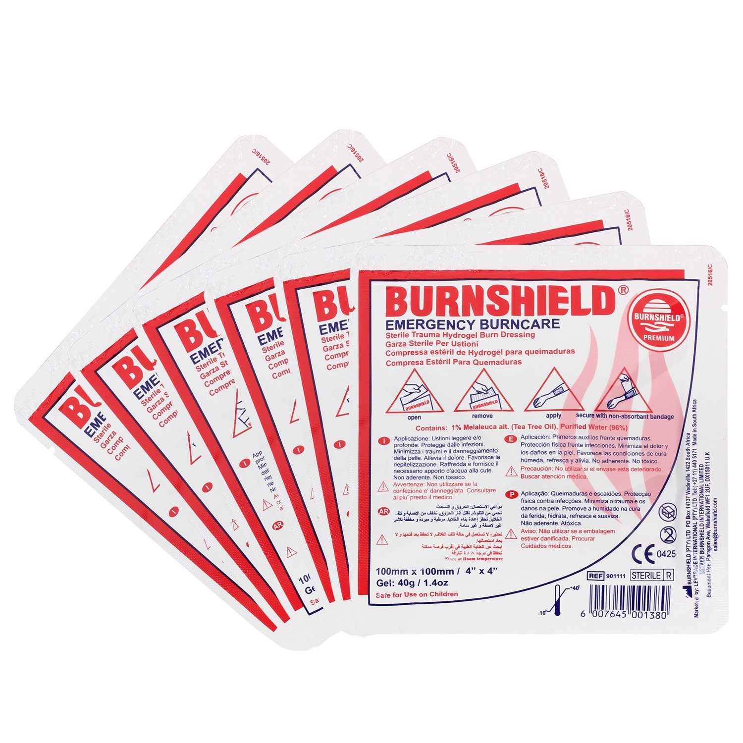 Burnshield 4'' X 4'' Burn Dressing, Sterile (Pack of 6)