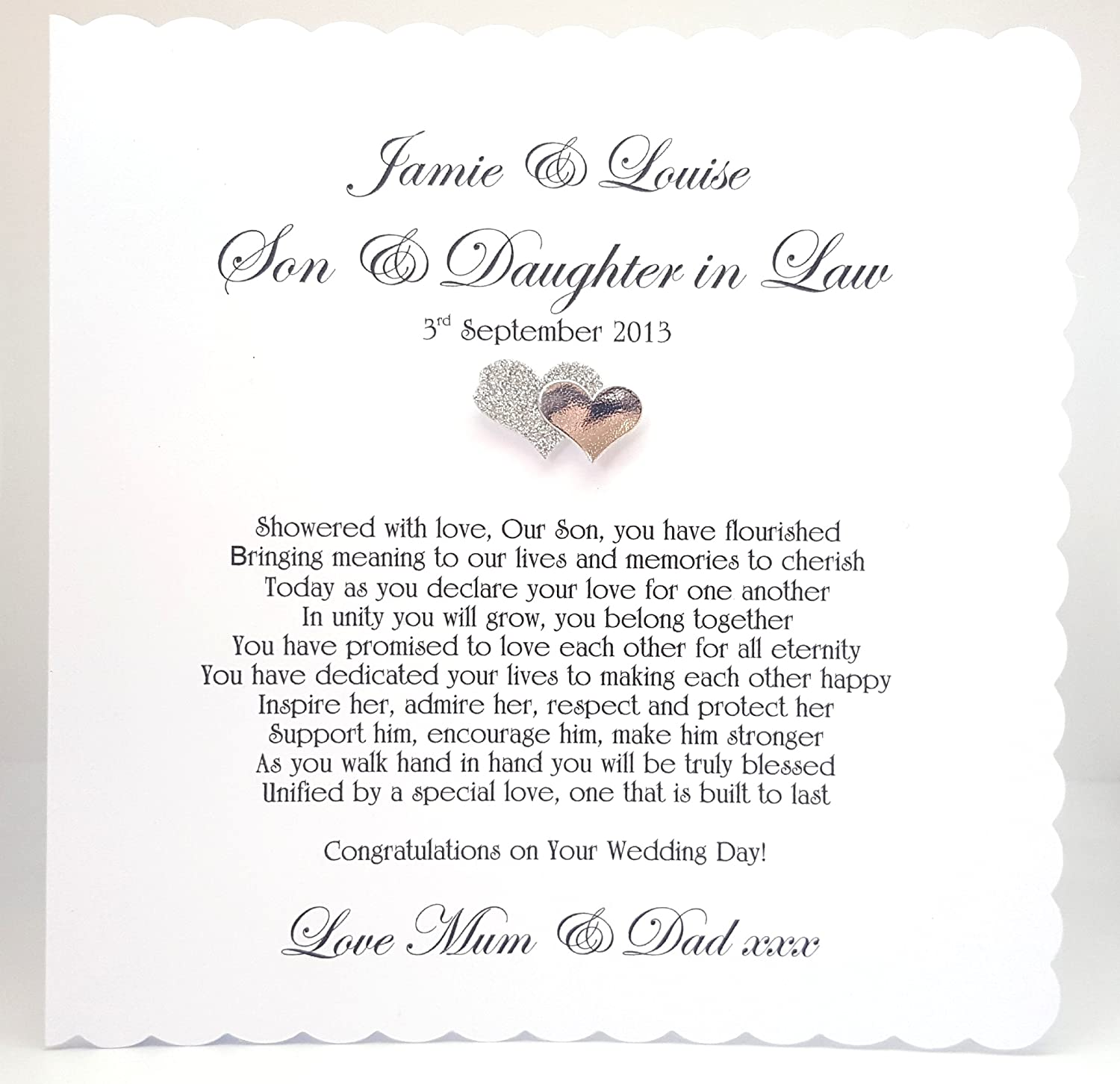 DAUGHTER /& SON~IN~LAW WEDDING DAY CARD LARGE SIZE~QUALITY CARD~BEAUTIFUL VERSE