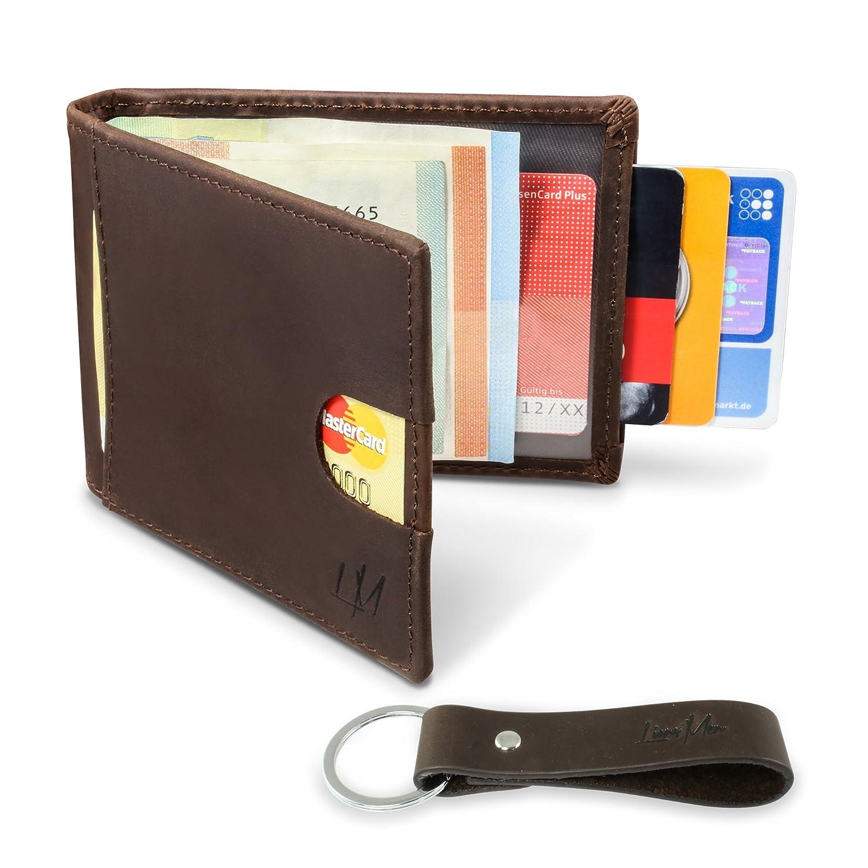 Lionsmen Portemonnaie mit Geldklammer Herren Leder - Geldbeutel Männer Klein mit Rfid Schutz - Slim Wallet Echtleder (Braun) … LX1