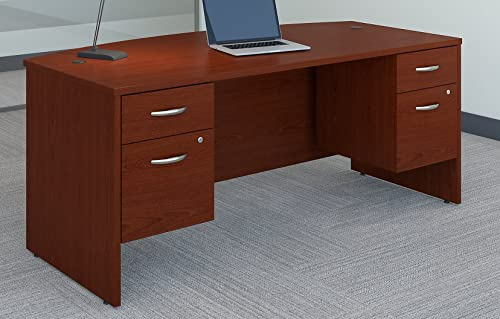Bush Business Furniture Series C 72W x 36D Bow Front Desk with 3 4 Pedestals in Mahogany