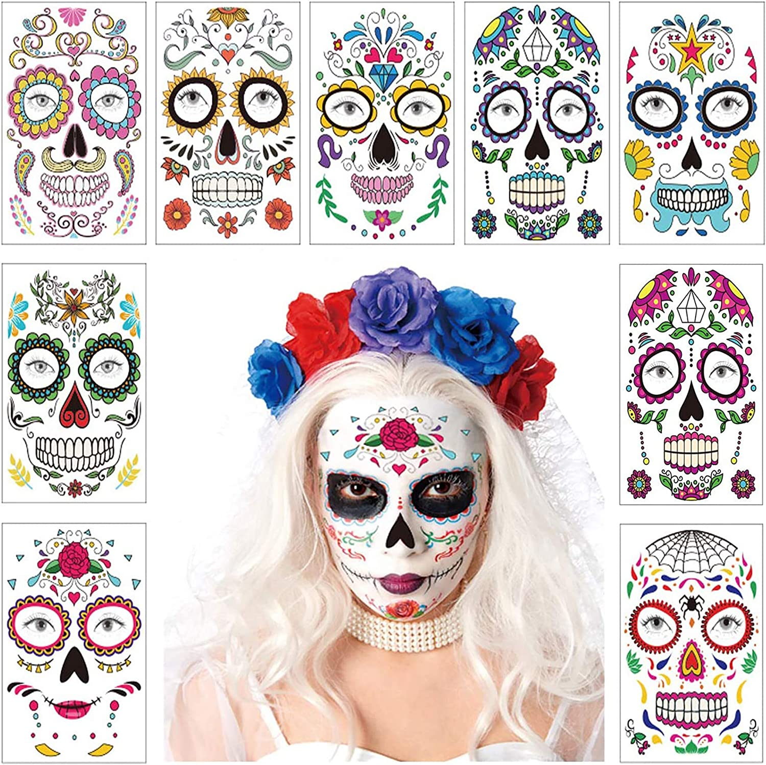 9 Sheets Halloween Temporary Face Tattoo Sticker Day of The Dead Skull Roses Sugar Design Mask Floral Festival Skeleton Decor Waterproof Scar Bleeding Garland Party Masquerade Cosplay Favor Supplies