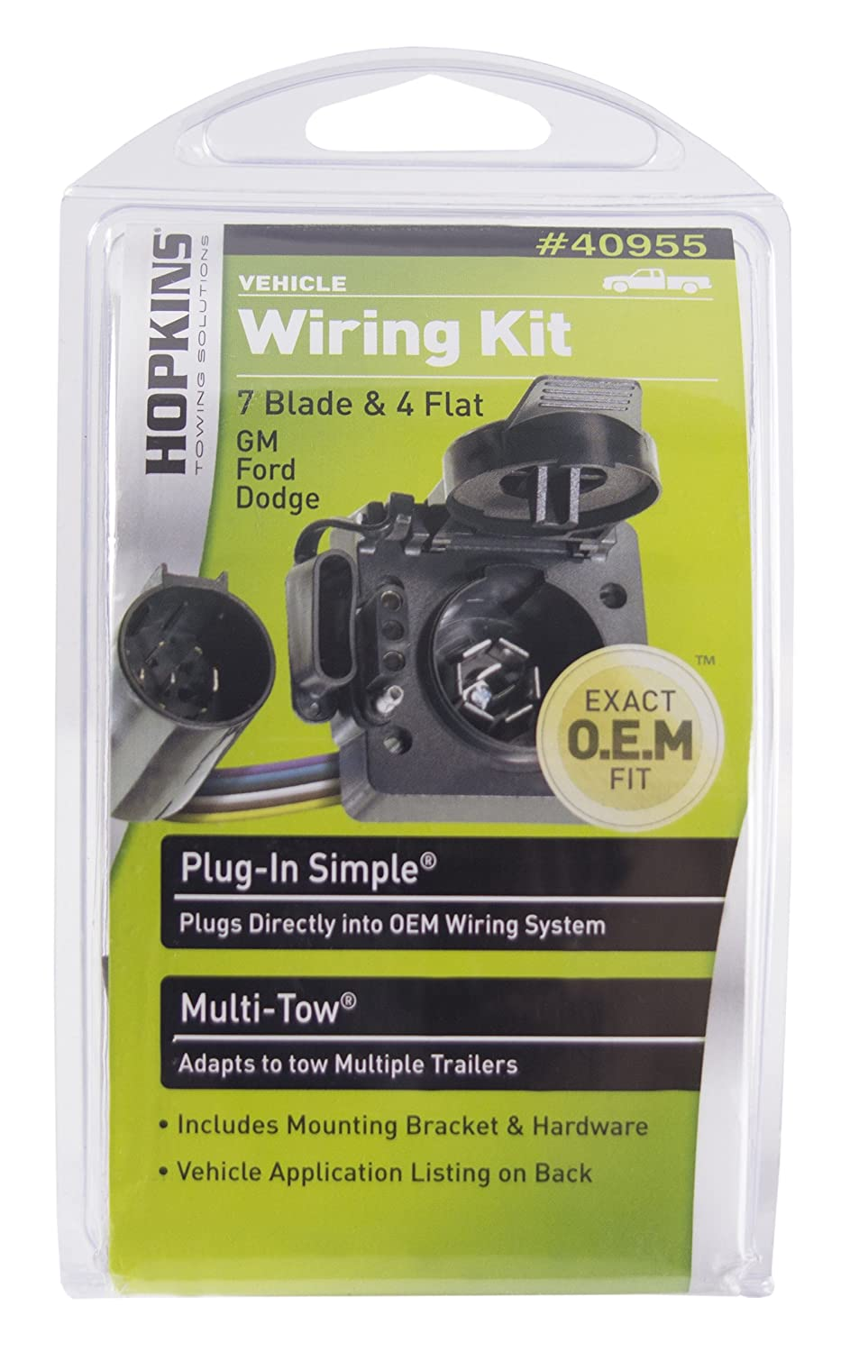 Hoppy Trailer Wiring Gm Another Blog About Diagram Harness Adapter 7 To 4 Way Amazon Com Hopkins 40955 Multi Tow T Connector Kit Automotive Rh
