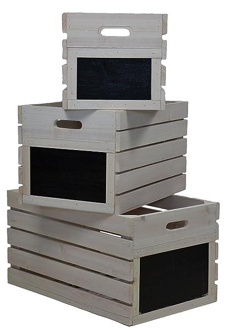 Verde Jem Vintage cajas de madera, color blanco envejecido, 46 x 29 x 24