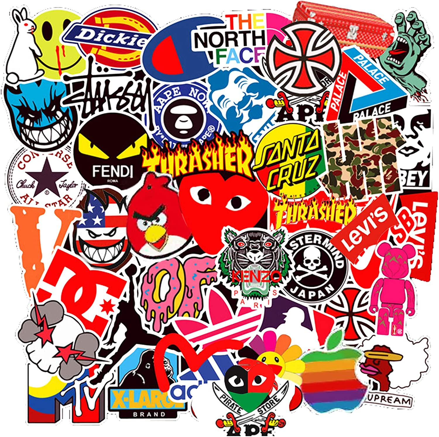 100 Pcs Fashion Brand Logo Stickers for Water Bottle Laptop Motorcycle Bike Bicycle Skateboard Luggage