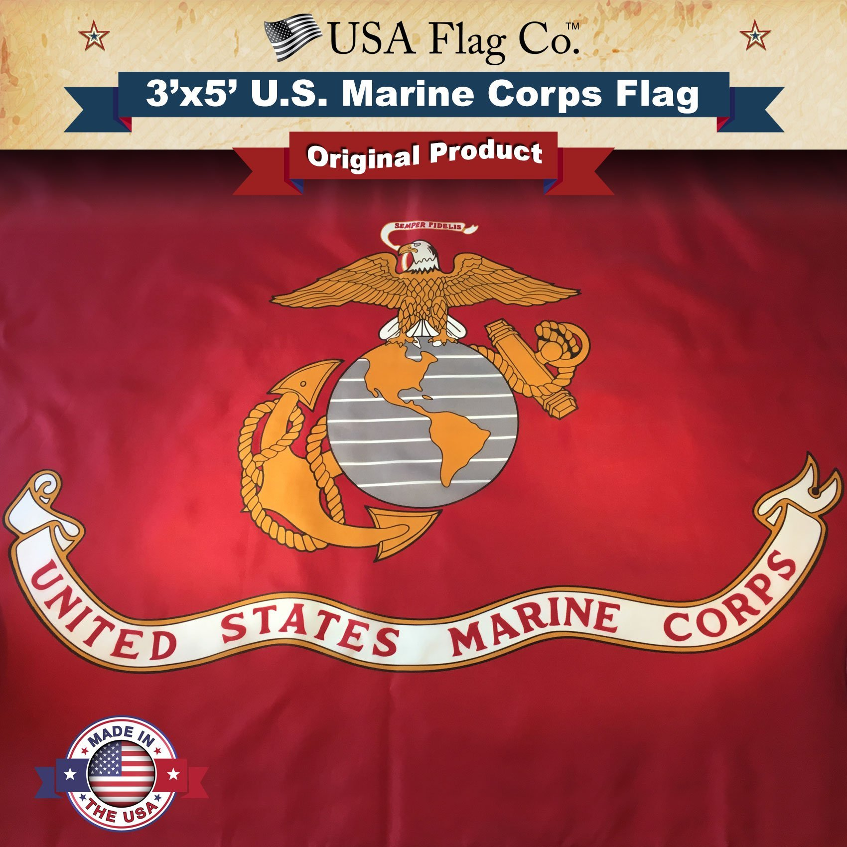 Marine Corps Flag by USA Flag Co. is 100% American Made: The BEST 3x5 Outdoor USMC Flag, Made in the USA for Prime Members and Amazon A to Z Guarantee. (3 by 5 foot)