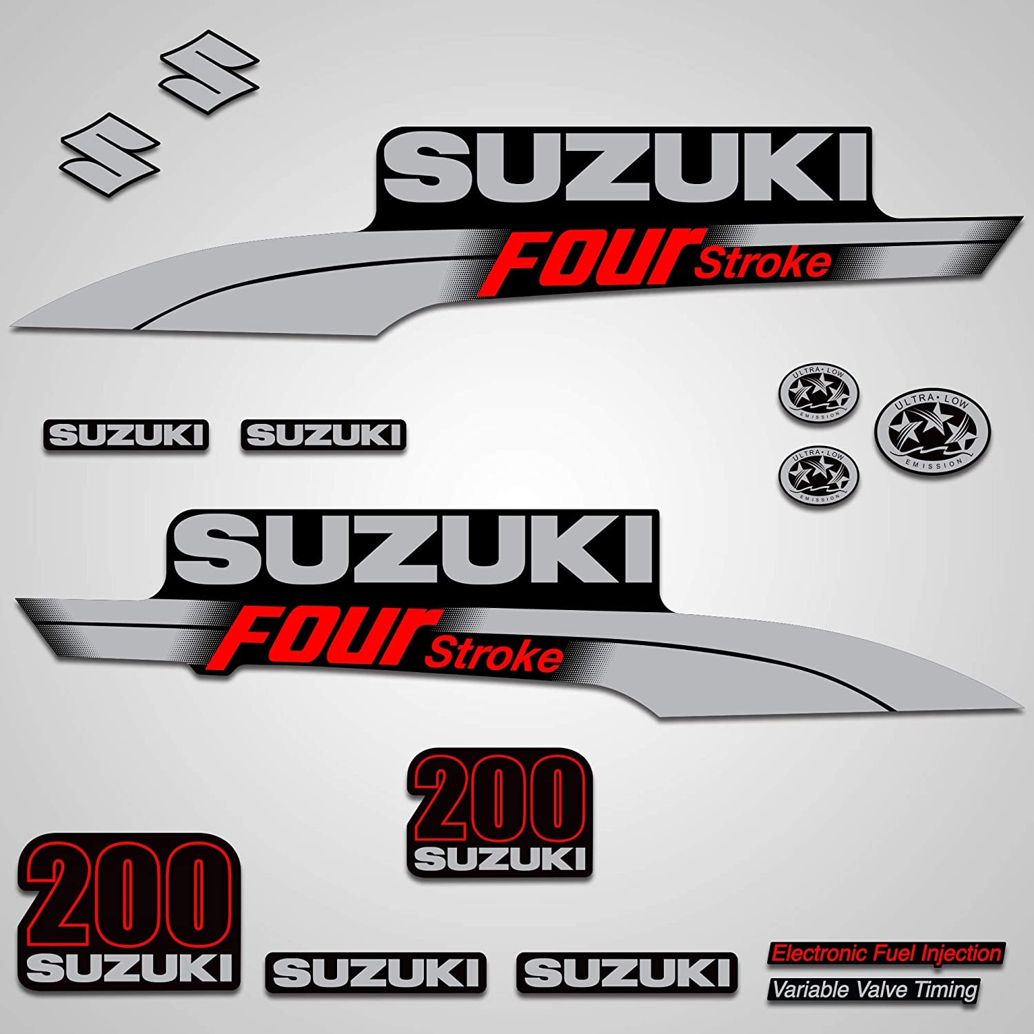 Wholesale Decals Outboard Engine Graphics kit Sticker Decal Compatible with Suzuki 200 - Red