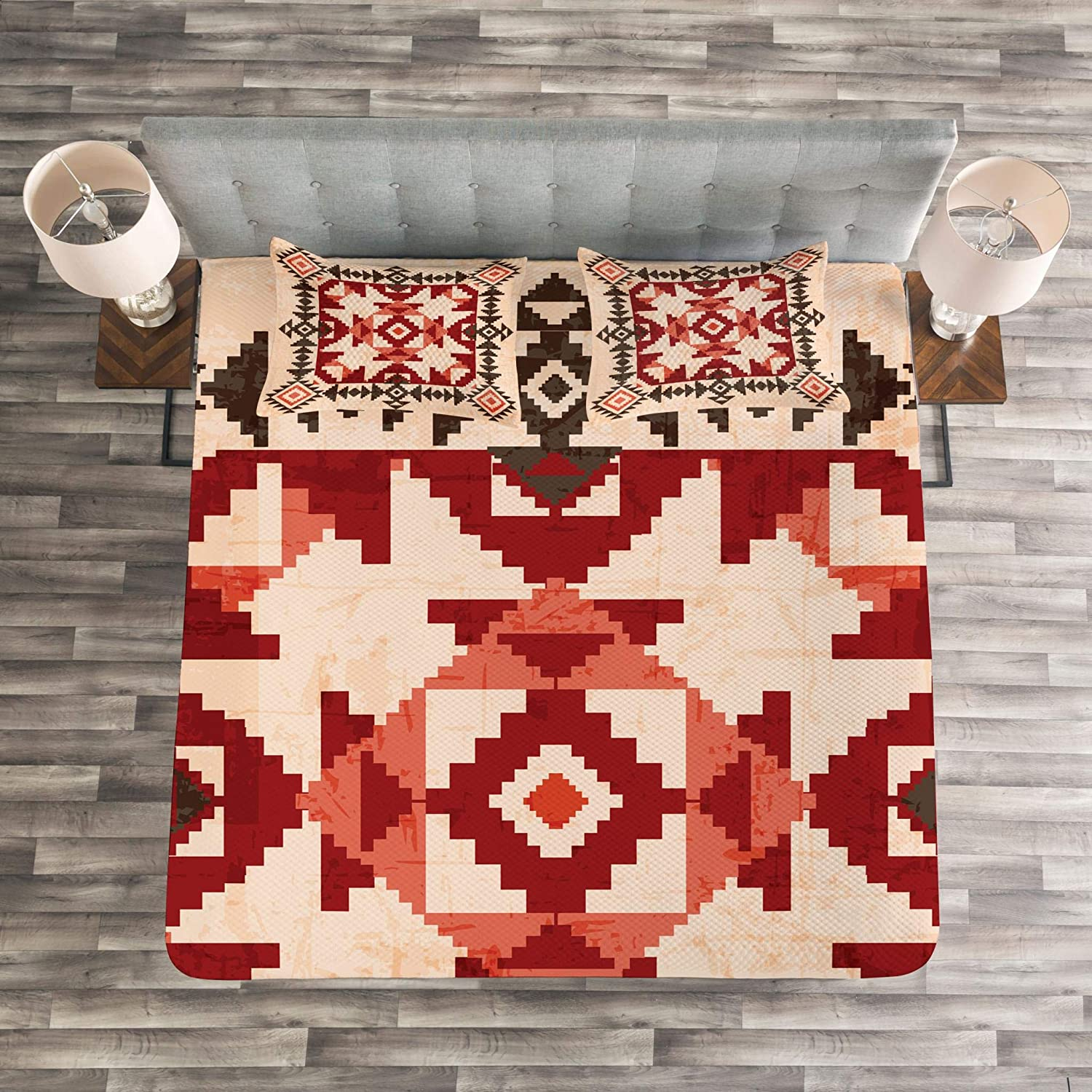Original National Heritage Maya Pyramids Local Region Esoteric Myth Motive Lunarable Native American Coverlet Set Queen Size Decorative Quilted 3 Piece Bedspread Set with 2 Pillow Shams Multicolor