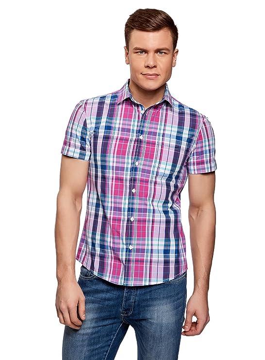 oodji Ultra Hombre Camisa a Cuadros con Bolsillos en el Pecho CPa8MP
