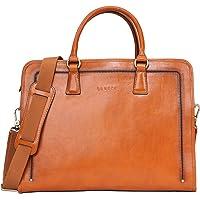 Banuce Vintage Briefcase Full Grain Italian Leather for Women Handbag Business Work Tote Attache Case Shoulder Satchel Purse 14 inch Laptop Messenger Bag