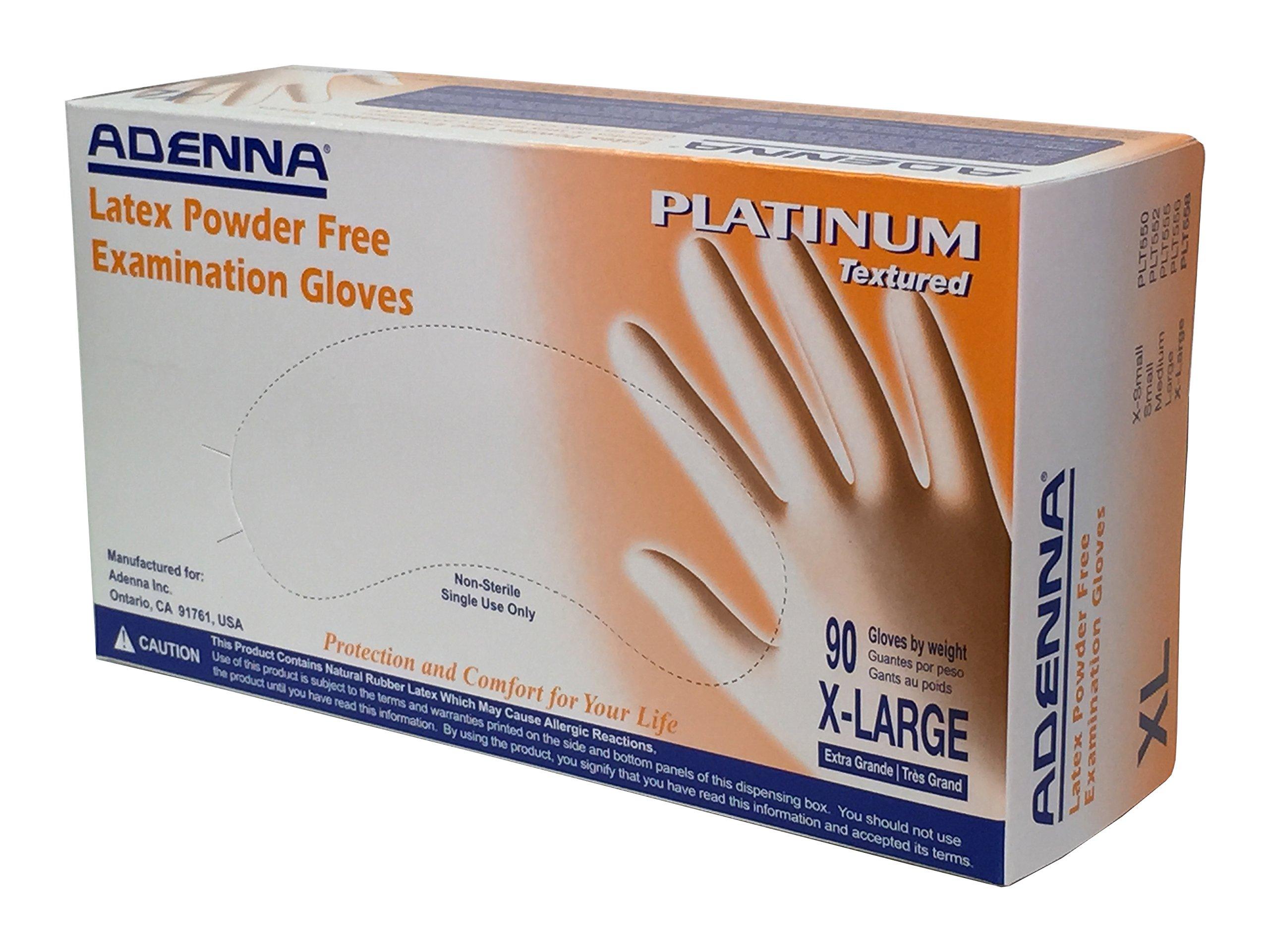 Adenna Platinum 5.5 mil Latex Powder Free Exam Gloves (White, X-Large) Box of 90