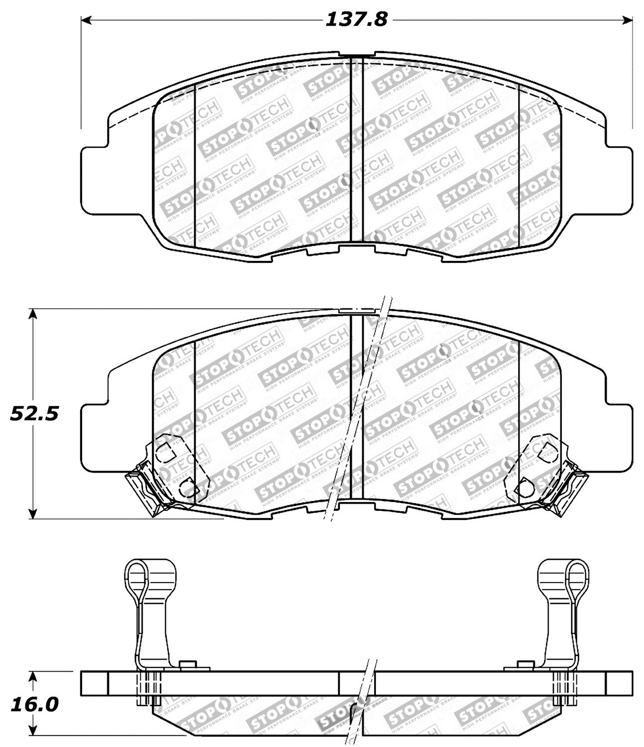 StopTech 309.07640 Street Performance Front Brake Pad