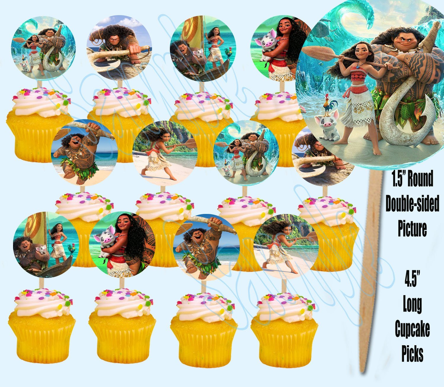 Moana Maui Hawaiian Disney Movie Double-Sided Cupcake Picks Cake Toppers -12 pcs