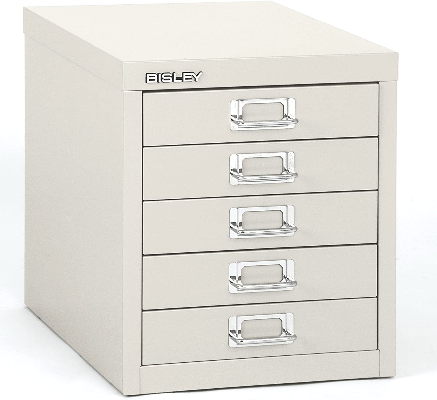 Bisley 5 Drawer Steel Desktop Multidrawer Storage Cabinet, White (MD5-WH)