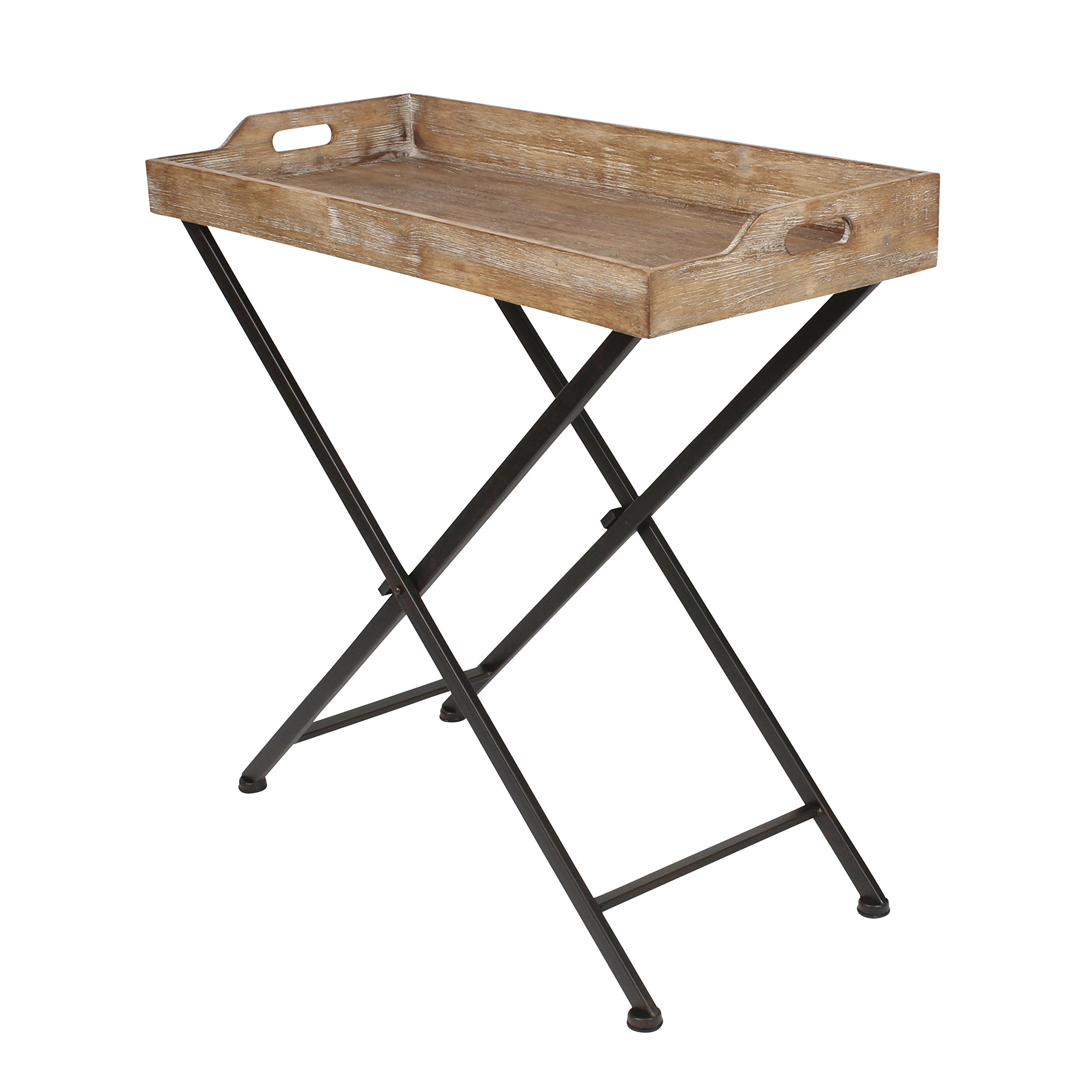 Kate and Laurel Marmora Metal Tray Table with Removable Wood Tray Top by Kate and Laurel