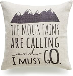 """Hofdeco Decorative Throw Pillow Cover HEAVY WEIGHT Cotton Linen Quotes and Sayings the Mountains are Calling and I Must Go Script 18""""x18"""" 45cm x 45cm"""