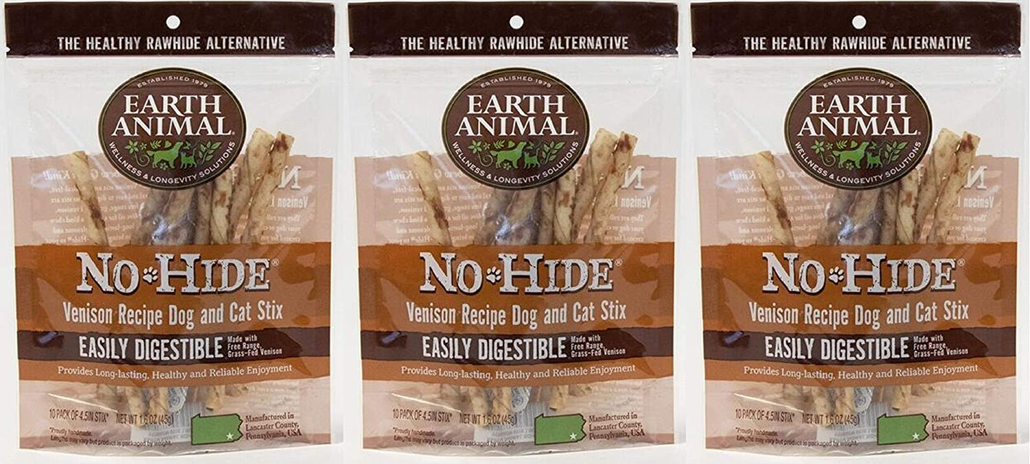 Earth Animal No Hide Sticks Dog Chew Treat 10 Count Stix Bag Made in USA