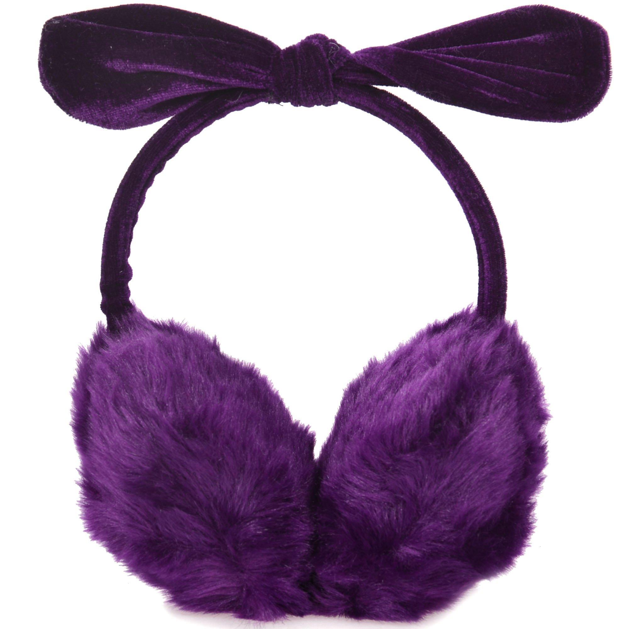 Simplicity Women's Faux Fur Earmuffs Winter Ear Warmers Fleece Bow, Purple