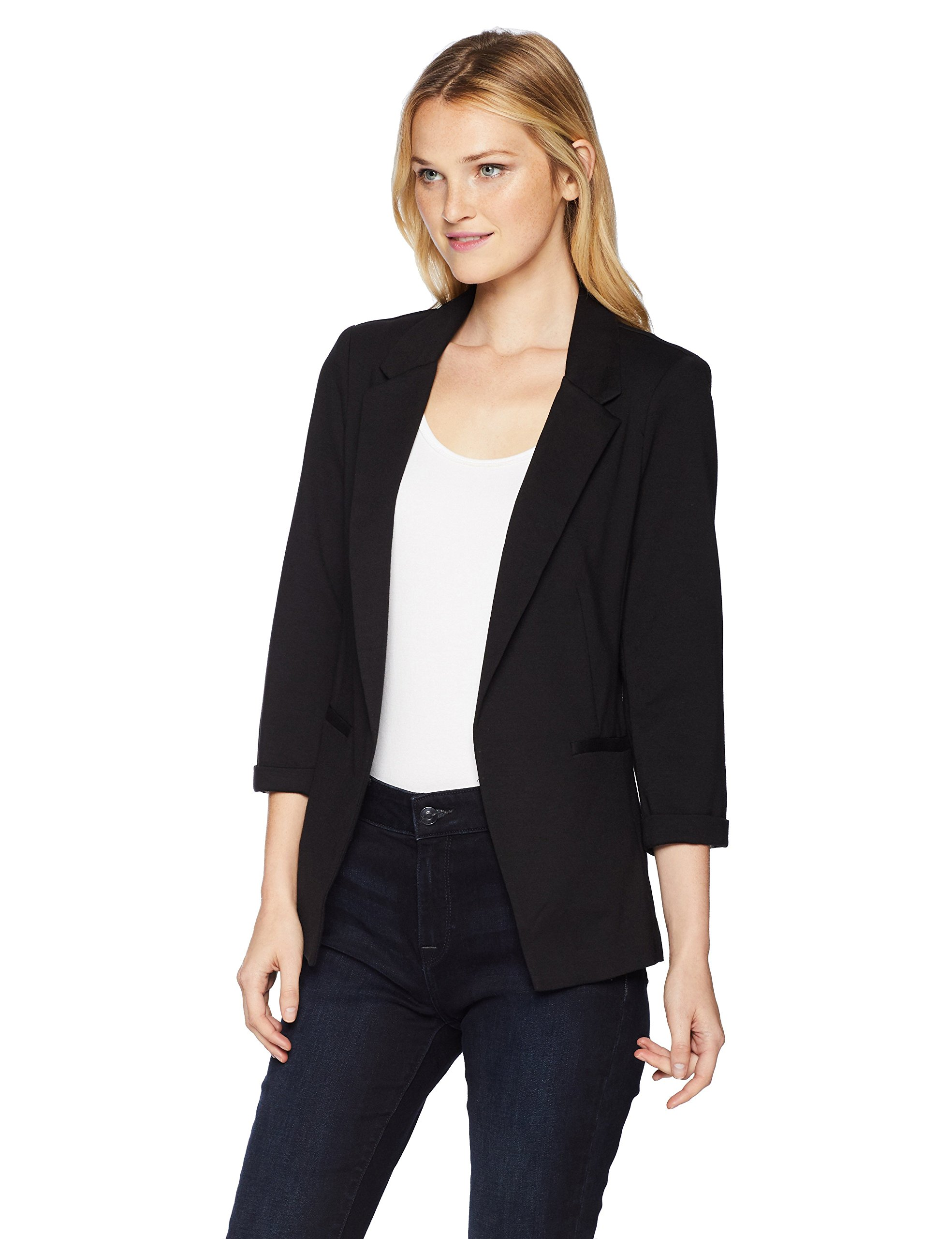 A. Byer Junior's Young Woman's Teen Knit Ponte Blazer, Black, S