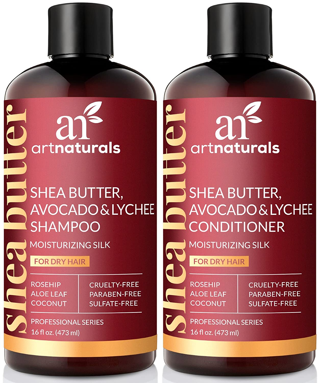 ArtNaturals Shea-Butter Shampoo and Conditioner Set - (2 x 473 ml) - Moisturizing Silk - For Dry Damaged Hair - Avocado, Lychee, Rosehip, Aloe Vera and Coconut - Sulfate-Free 0816820023927
