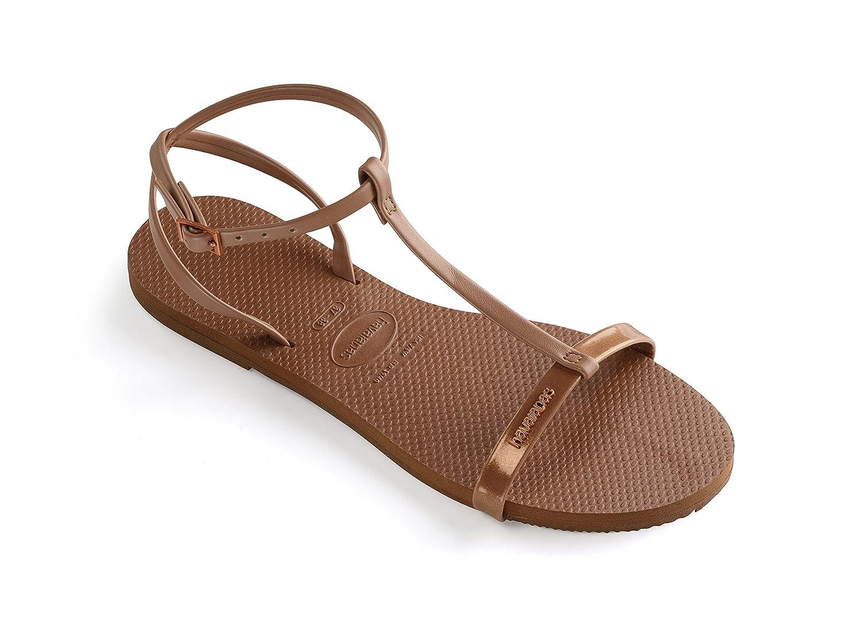 Havaianas Damenschuhe, Belize, Sandalen mit Riemen Aus Ouml;koleder und Einem Farbigen Querriemen  39-40 EU|Rust