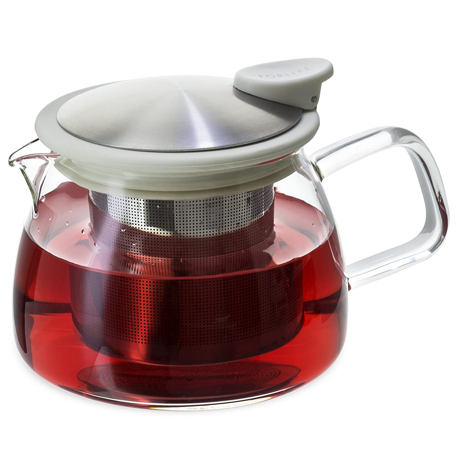 FORLIFE Bell Glass Teapot with Basket Infuser, 14-Ounce/430ml, White 809-WHT